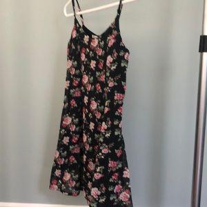 Black floral print mini dress XS